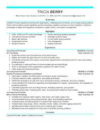 Extensive Resume Sample by Best Journeymen Plumbers Resume Example Livecareer