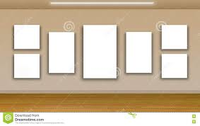 blank frames on wall interior gallery stock illustration image