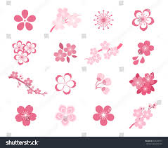 set cherry blossom japanese sakura spring stock vector 439340731