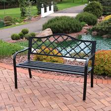 outdoor ls for patio sunnydaze 50 inch outdoor black cast iron lattice patio bench