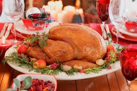 thanksgiving usa christmas table with roast turkey usa stock photo picture and