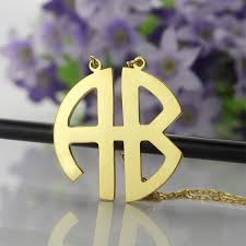 Block Monogram Necklace 18k Gold Plated 2 Letters Capital Monogram Necklace