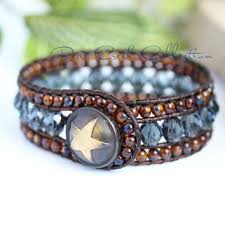 leather cuff wrap bracelet images Denim blue beaded leather cuff 5 row from bearcreekcollection jpg