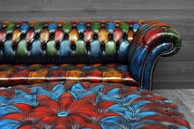 Patchwork Chesterfield - patchwork multicolour chesterfield footstool harlequin