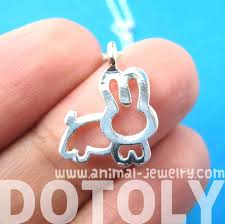 adorable bunny rabbit animal outline pendant necklace in silver