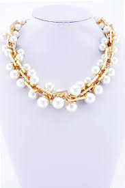 statement necklace pearl images Chunky gold faux pearl statement necklace blingonthegirls co uk jpg