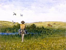duck hunting on the prairies with an immigrant wagon train in the distance william george
