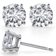 moissanite earrings 4 prong low basket f1 h a moissanite stud earrings