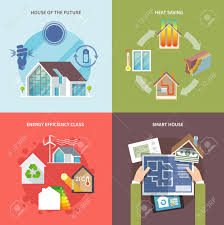 energy saving house plans energy saving house design concept set flat icons isolated vector