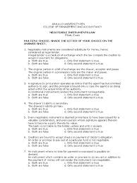 100 mcq nego negotiable instrument promissory note