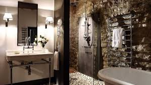 Double Panel Shower Curtains Stone Accent Wall Bathroom Single Black Vanity Sink Cabinet Dark