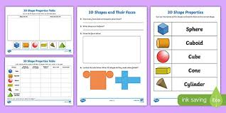 properties of 3d shapes activity sheets 3d shapes activity