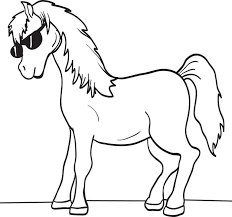 free printable cartoon horse coloring kids