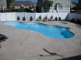 fiberglass pools last 1 the great backyard place the fiberglass pool and spa with cantilever deck and st concrete