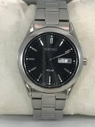 seiko steel bracelet images Men 39 s seiko sne039 stainless steel bracelet black solar dial watch jpg
