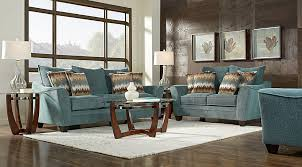 Coffee Table Rooms To Go Madeley Teal 7 Pc Living Room Living Room Sets Green