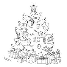coloring outline cartoon christmas tree ornaments
