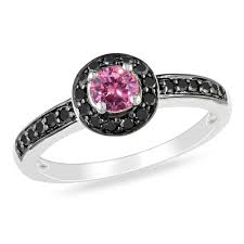 pink and black engagement rings 5 8 ct t w enhanced pink and black diamond frame engagement ring