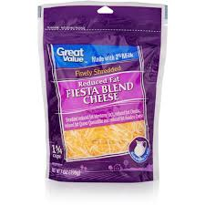great value finely shredded reduced fat fiesta cheese blend 7 oz