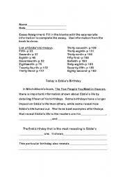 english worksheets five people you meet in heaven fill in the