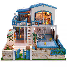 kit dollhouse beach deluxe house with swimming pool out of