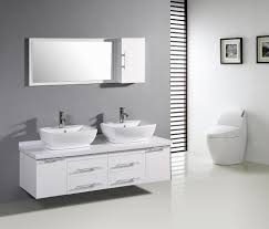 awesome white themed bathroom with chrome faucet also white wooden