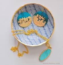 earrings diy diy gold gilded earrings and jewelry bowl made in a day