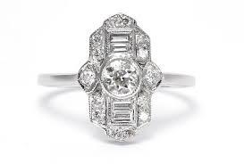 art deco diamond ring 0 85ct 18ct white gold art deco rings rings