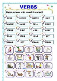 english worksheets for grade 2 verbs worksheet action verb