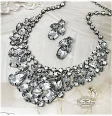 chunky crystal bib necklace images Chunky crystal bib necklace earrings bridal wedding jewelry set jpg