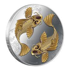 silver colored coin feng shui koi 2012 niue 1 oz