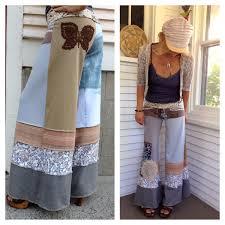 eco gaucho pants patchwork clothing upcycled clothing yoga