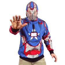 halloween iron man costume mens marvel iron man 3 iron patriot costume hoodie blue