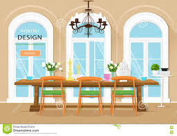 vintage graphic dining room interior with dining table chairs and