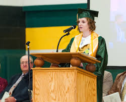 Co-Valedictorian Nicole Kreger addresses her classmates and others in attendance. - 4fce694db8625.image