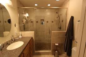 bathroom appealing small open space shower with marble wall