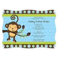 blue monkey boy personalized baby shower invitations