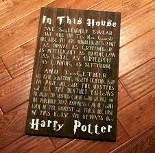 harry potter home decor in this house we do harry potter large wooden sign harry
