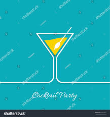 cocktail party martini glass invitation club stock vector
