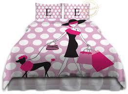 Monogrammed Comforters Pink Paris Bedding Kids Comforters Kids Bedding Polka Dot