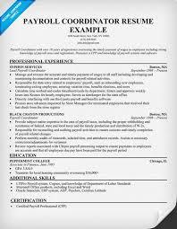 payroll coordinator resume medical resumes examples health unit