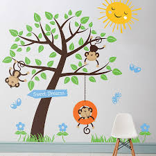 tree wall decor stickers shenra com children s monkey tree wall stickers by parkins interiors