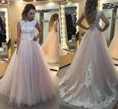 2017 new a line girls prom dresses sheer jewel neck appliques lace