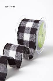 buy ribbon 2 5 inch brushed buffalo check ribbon wired black white buy