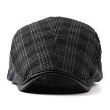 men women checker check plaid tartan flat cap black ffh363blk