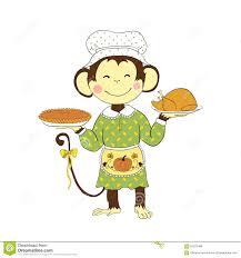 thanksgiving day monkey holding turkey and pumpkin pie