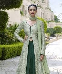 pista green color embroidered georgette semi stitched salwar with
