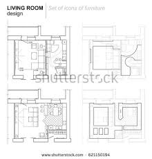 Layout Apartment Architectural Plan Layout Apartment Furniture Drawing Stock Vector