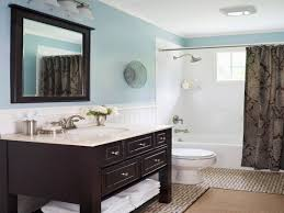 blue brown bathroom ideas black mosaic tiles shower room divider