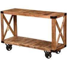 Mango Wood Console Table Rochester Industrial Mango Wood 3 Tier Rolling Console Hall Table